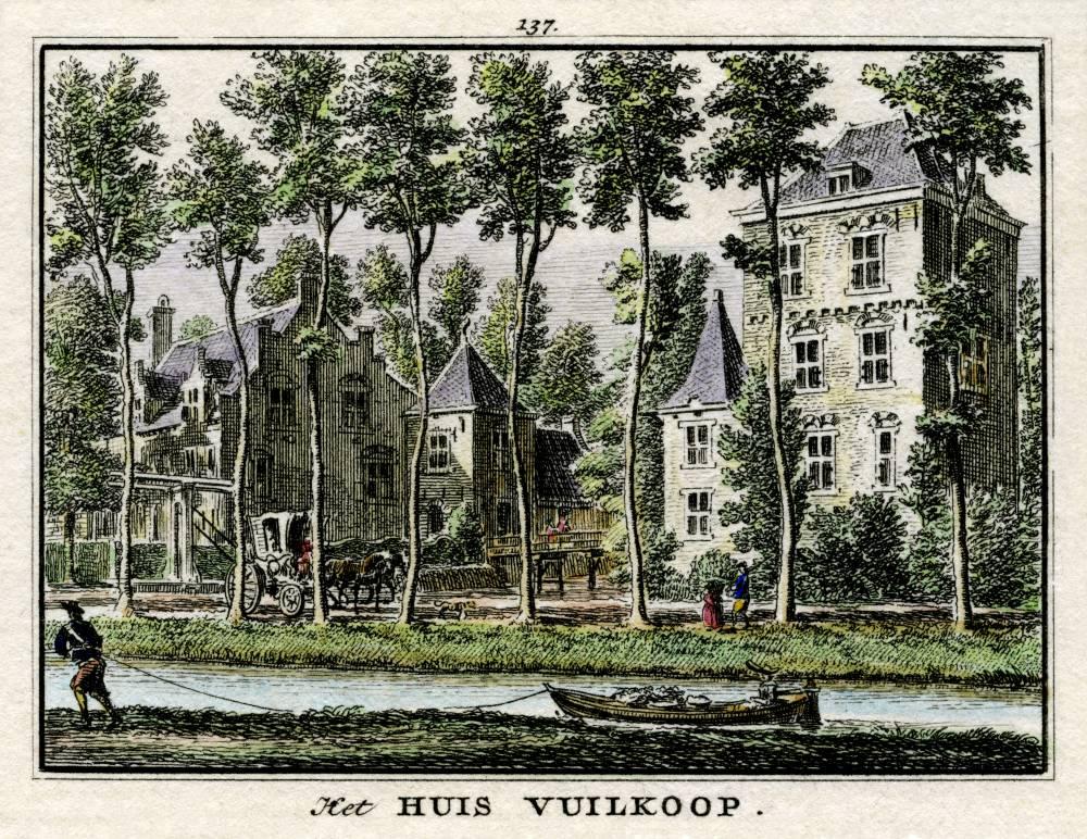 Kasteel Vuylcoop in Schalkwijk. Tekening Jan de Beijer, gravure Hendrik Spilman (Uit: Het Verheerlykt Nederland, Isaac Tirion, 1745/1774)